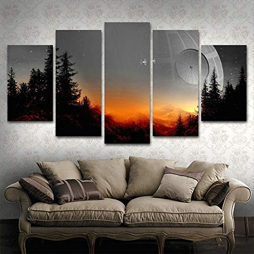 BOYH Modular Canvas Pictures Wall Art Framed 5 Pieces Star Wars Tree Death Star Painting Living Room Prints Movie Poster Home Decor,A,30×50×2+30×70×2+30×80×1 (5 Piece Canvas Wall Art Star Wars)