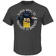Majestic New Carolina Panthers vs Denver Broncos NFL Super Bowl 50 Ticket Short Sleeve T-Shirt Mens X-Large
