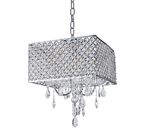 - Top Lighting 4-Light Chrome Finish Square Metal Shade Pendant Crystal Chandelier