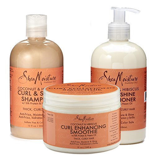 Shea Moisture Coconut and Hibiscus Combination Pack – 13 oz. Curl & Shine Shampoo, 13 oz. Curl & Shine Conditioner & 12 oz. Curl Enhancing (Gentle Shine Enhancing Shampoo)