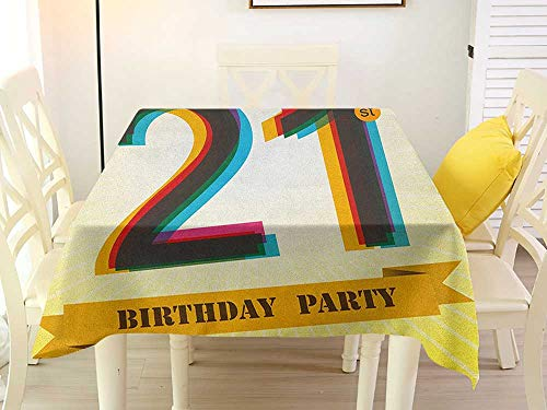 (L'sWOW Square Tablecloth Decorative 21st Birthday Invitation to an Amazing Birthday Party on a Golden Colored Backdrop Image Multicolor Stripe 50 x 50 Inch)