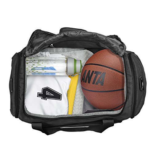Wohous Sports Gym Bag with Shoe Compartment Waterproof Sports Travel Duffel Bag 35L High Capacity Weekender Duffel Bag for Sports, Gym, Weekender, Travel.(BLACK)