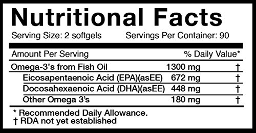 Athletic Greens Omega 3 Fish Oil 180 Softgels, 1300mg