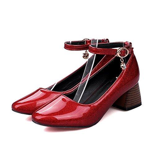 Balamasa Ladies Hebilla Chunky Heels Charms Square-toe Charol-leather Pumps Zapatos Rojo
