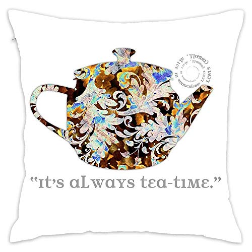 Lovwepilo Mad Hatter Rainbow Whimsical Teapot Print Many Colors Artistic Pattern Tea Party Typography Throw Square Pillow Covers Square Cushion Case Sofa Durable Modern Stylish (18