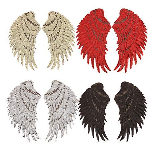 4 Pair Sequins Angel Wings Iron On Patch DIY Embroidered Applique Bling Wings for Jackets Cloth Decoration Valentine's Day ()
