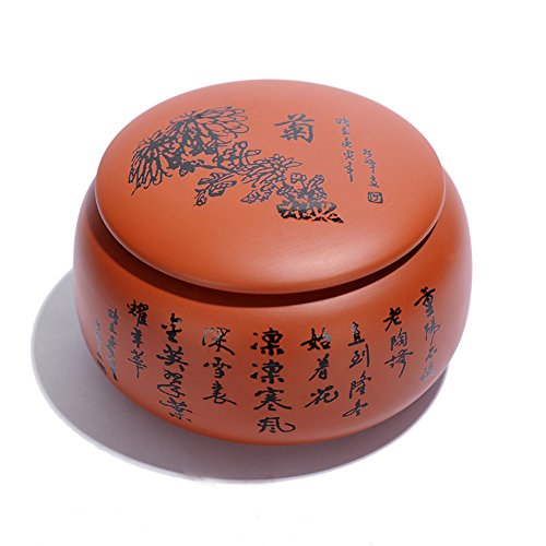 Ceramic Tea Caddy Handmade Crafts Tea Storage Chest Plum blo