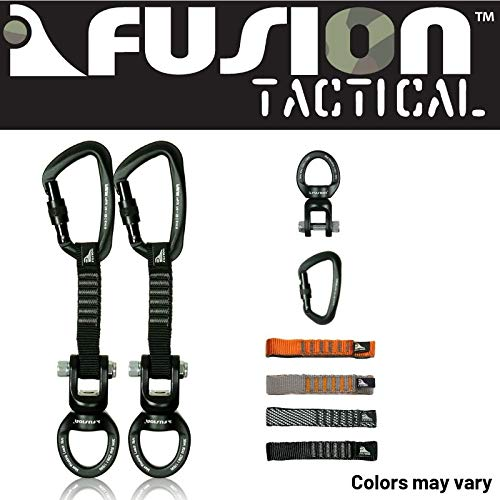 Fusion Climb 2-Pack 12cm Tactical Military Rescue Quickdraw Set with Vapor III Screw Gate Black/Ring Shackle Rotation Swivel Device Carabiners Strongly Made in The USA ()