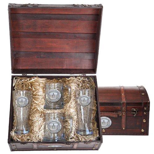 Utah Utes Beer Glass Gift Set by Heritage Metalwork