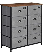 SONGMICS Rustic Vertical Dresser Drawer, Storage Tower, Industrial Style Dresser Unit