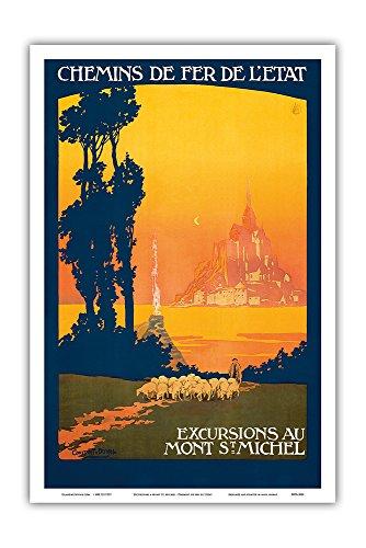 Excursions Au Mont St. Michel - Normandy, France - Chemins de fer de l'État (Railways of The State) - Vintage Railroad Travel Poster by Léon Constant-Duval c.1930s - Master Art -