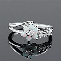 A.Yupha Flower Daisy Fire Opal 925 Silver Ring Women Wedding Trendy Party Gift Size 6-10#White (8)