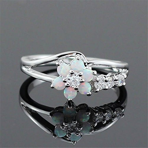 A. yupha flor margarita ópalo de fuego Anillo de plata 925mujer Trendy, regalo de boda tamaño 6–10# blanco, -, 6