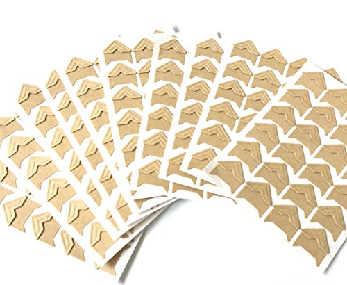 VEEPPO 240pcs Photo Mounting Corners Self Adhesive Paper for Photo Book Scrapbook (Kraft color) (Gold Pictures Natural)