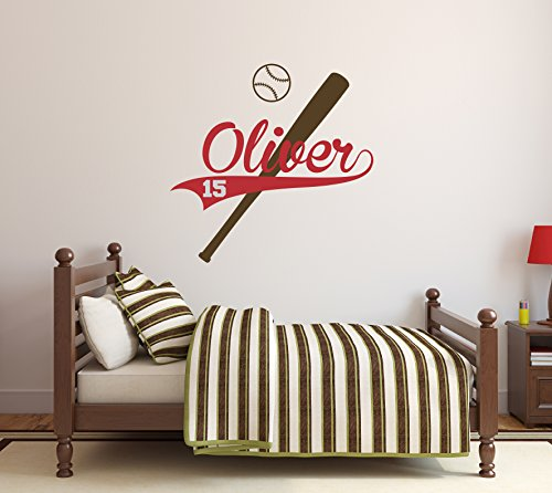 Personalized Baseball Name Wall Decal - Baby Boy Room Decor