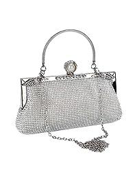 BAIGIO Women's Evening Clutch Wedding Clutch Rhinestone Purse Bridal Prom Handbag Party BagLadies Silver