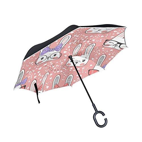 - MAOXUXIN Cute Rabbit Bunny with Glasses Love Heart Inverted Umbrella, Large Double Layer Outdoor Rain Sun Car Reversible Umbrella