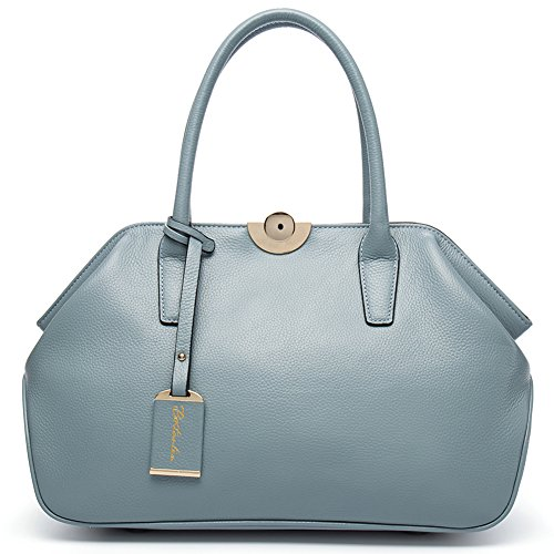 Ainifeel Women s Genuine Leather Top Handle Handbag Shopping Bag ... 33de661d5fdeb
