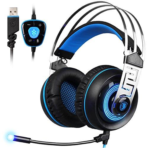 Sades A77.1Virtual Surround Sound USB Gaming Headset mit Mikrofon Intelligente Geräuschunterdrückung Gaming Kopfhörer LED-Licht für Laptop PC Mac (schwarz + blau)