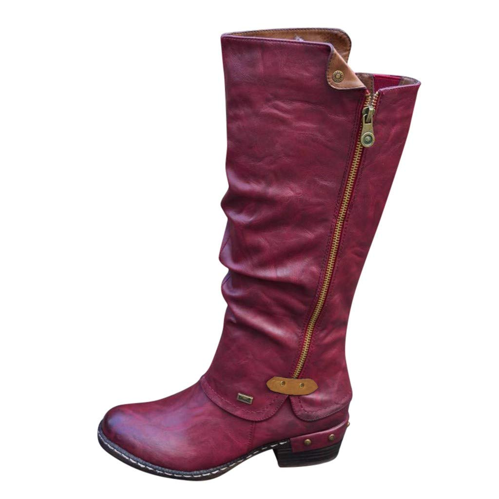 Hurrybuy Womens Western Wide Calf Knee High Boot Winter Riding Boots Fashion Tall Booties Red by Hurrybuy Women's Shoes
