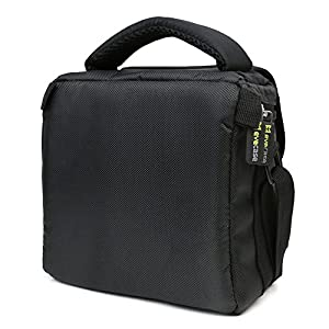 Camera Bag, Evecase Small Shoulder Case For Compact Digital SLR DSLR Camera Micro Four Third, Hybrid, and High Zoom, Mirrorless and Instax Instant Camera- Black from Evecase