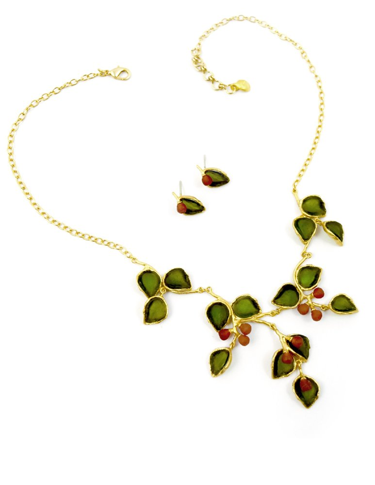 Cast Artisan Glass & Gold-Plated Holly Leaves Necklace + Earrings Set by Michael Vincent Michaud