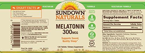 Sundown Naturals Melatonin 300 mcg, 120 Tablets by Sundown Naturals (Image #1)
