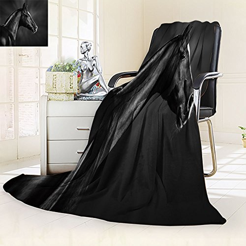 Homesonne Throw Fuzzy Fleece Microfiber Blanket Black and white portrait of arabian horse,Silky Soft,Anti-Static,2 Ply Thick,Hypoallergenic Printed Fleece Blanket.(W50 x L60) by Homesonne