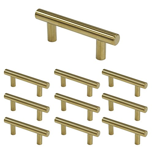Probrico 10pcs Golden Modern Kitchen Door Cabinet T Bar Handles Drawer Pull Knobs Stainless Steel Brushed Brass Hole Spacing 2-1/2in(64mm) 1/2' 64mm Pull