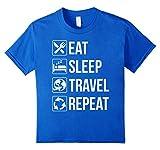 Kids Funny Eat Sleep Travel Repeat TShirt 10 Royal Blue