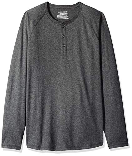 - Amazon Essentials Men's Regular-Fit Long-Sleeve Henley Shirt, Charcoal Heather, Small