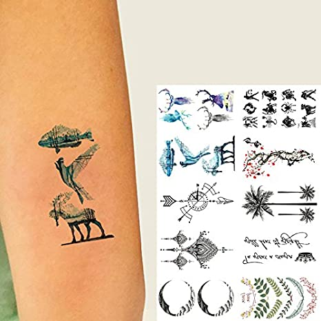 Oottati 10 Hojas Pequeñas Cute Dedo Tatuajes Temporales Luna ...