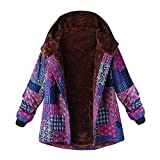 HOOUDO Womens Coat Ladies Autumn Winter Warm Fashion Casual Plus Size Hooded Long Sleeve Vintage Ladies Fleece Thick Coats Zipper Jacket Outwear(5XL,Pink)
