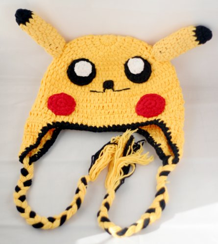 Crochet Baby Pikachu Pokeman Hat in yellow color 0-3 months - made with NEW Milk protein cotton yarn - ready to ship ()