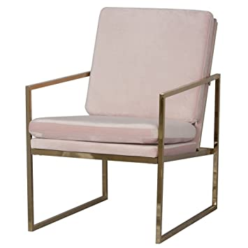 Mr.do® Samt Sessel Stuhl Rosa Lounge Sessel Modern, Kupfer Blick Messing  Plattiert