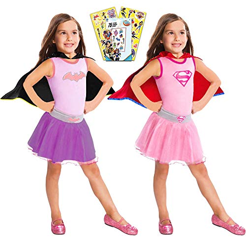 Superhero Girls Dress Up Costumes ~ 2 Costume Pack, Supergirl Batgirl (Size 4-6)]()