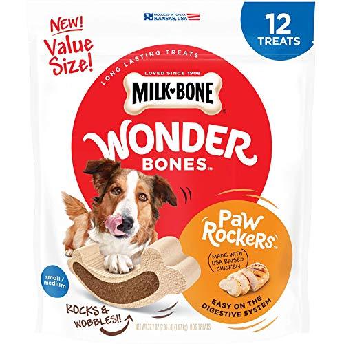(Milk-Bone Wonder Bones Paw Rockers with Real Chicken, Long Lasting Dog Treats, Small-Medium, 37.7 Ounce Pouch )