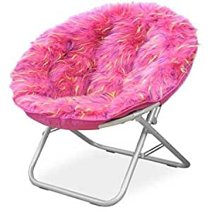 Amazon Com Fluffy Spike Faux Fur Moon Chair Pink 1