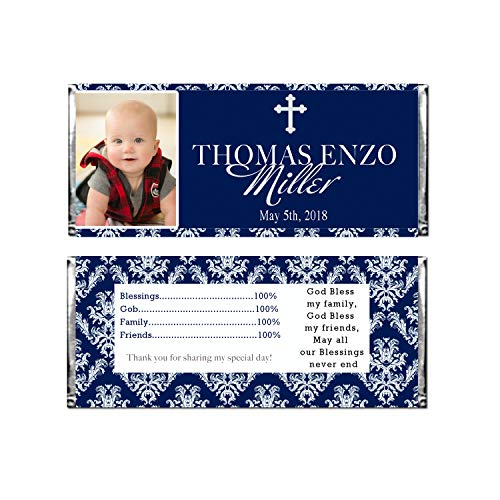 - 30 Candy Bar Labels Boy Religious Navy Blue With Photo Stickers Wrappers