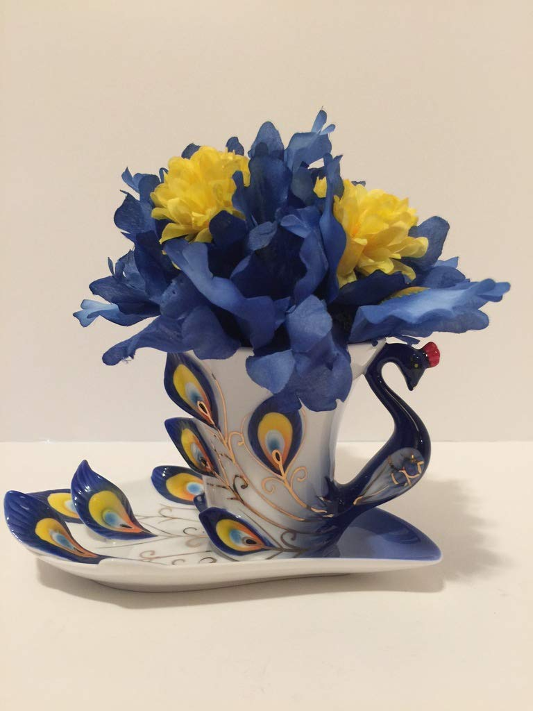 ANIMAL FUN - BLUE PEACOCK VASE - BLUE & YELLOW IRISIS - YELLOW MINI CARNATIONS