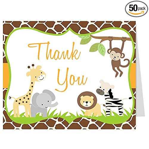 Amazon Com Jungle Baby Shower Thank You Cards Safari Gender