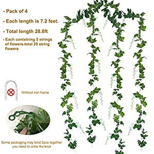 Mavee 4 Pcs 7.2 Feet Artificial Flower Vine Silk Wisteria Garland Hanging Rattan with Ivy Leaf for Wedding Home Decor (White) 4