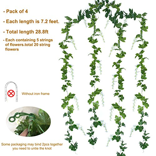 Mavee-4-Pcs-72-Feet-Artificial-Flower-Vine-Silk-Wisteria-Garland-Hanging-Rattan-with-Ivy-Leaf-for-Wedding-Home-Decor-White