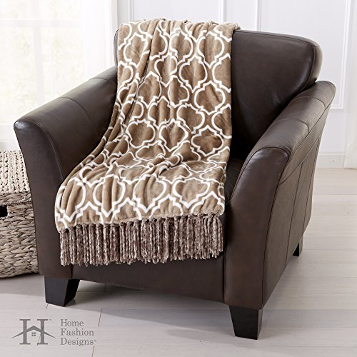 Home Fashion Designs Orleans Collection Geometric Lightweight Ultra Velvet Plush Soft Blanket with Decorative Fringe, Simply Taupe (And Beige Sofa Brown)