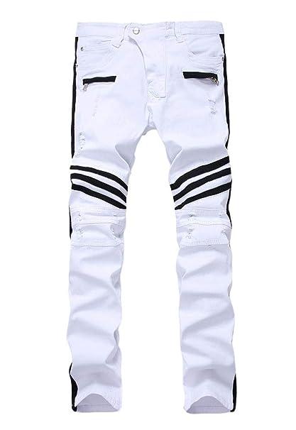 Amazon.com : Versaces Men Mid Waist Jeans White Black Border ...