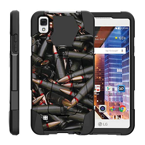 TurtleArmor | Compatible with LG Tribute HD Case | LG Volt 3 | LG X Style [Dynamic Shell] Impact Hard Kickstand Hybrid Shock Silicone Cover Robot Military Army - Black Bullets (Lg Volt 4g Lte Case)