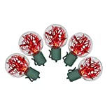 VCO Set of 25 Red LED G40 Tinsel Christmas Lights - Green Wire