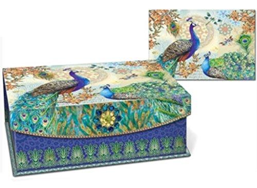Punch Studio Royal Peacock Brooch Embellished Flap Trinket Box, Large 58888