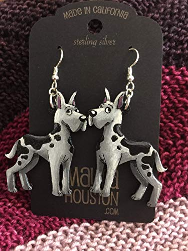 Great Dane Earring - Great Dane Earrings (not 3D) that are laser cut and hand painted out of solid cherry wood to give the illusion of 3D // gifts for her