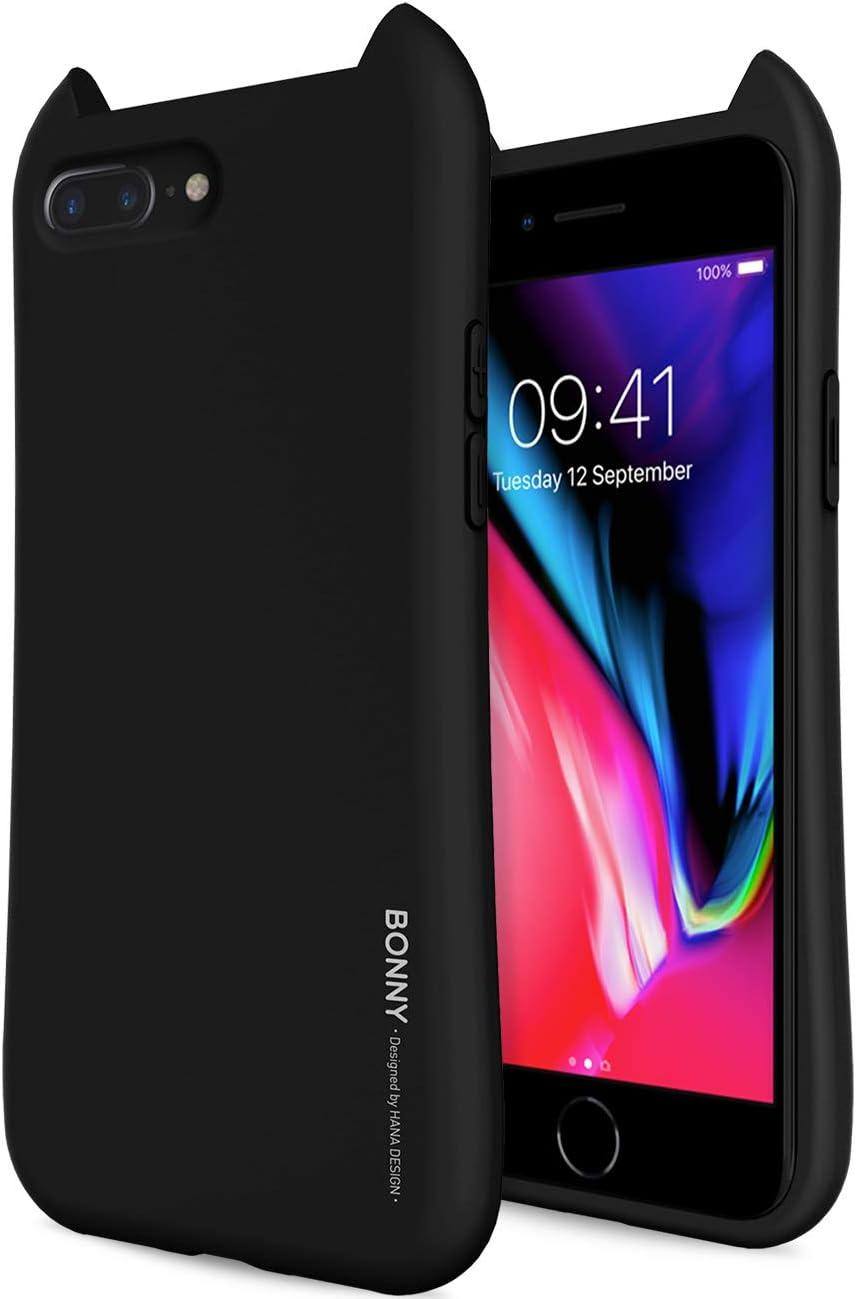 Qoosan iPhone 8 Plus Case/iPhone 7 Plus Case 3D Design Ears Soft Rubber TPU Jelly for Apple iPhone 8 Plus (2017) / iPhone 7 Plus (2016) - Matte Black
